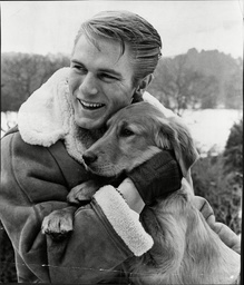 Adam Faith Singer/actor (died 3/03) With His Golden Retriever Dog 'shadow'.