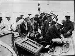 The Hon Nita And Hon Cora Weir Daughters Of Lord Iverforth With Sir Thomas Lipton On Board His Yacht At Cowes Isle Of Wight.