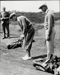 The American Ryder Cup Team Get Some Practice In At Southport Showing Sam Snead And Byron Nelson Getting Some Putting Practice.