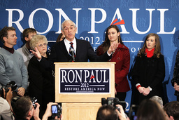 Republican presidential candidate Ron Paul speaks to supporters at a campaign event in Des Moines