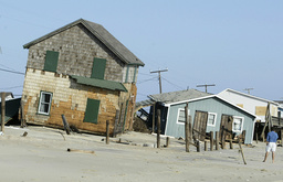 BEACHFRONT HOMES LAY DAMAGED ON THE OUTER BANKS OF NORTH CAROLINA