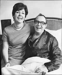 Eric Morecambe Comedian In Bed At Leeds General Infirmary With Wife Joan Morecambe Following His Heart Attack 1968.
