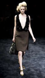 Model displays creation by Prada during their Fall/Winter 2009/10 women's collection show at Milan Fashion Week
