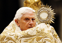Pope Benedict XVI celebrates the First Vespers and Te Deum prayers in Saint Peter's Basilica at the Vatican
