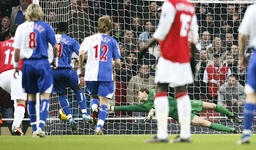 Blackburn's Nonda scores a penalty during their English Premier League soccer match at The Emirates Stadium in London