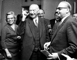 Adenauer at conference of coalition parties