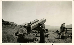 The camera of the Hayden Planetarium-Grace expedition is set up on the summit of a hill near Casma, Peru to record the solar eclipse on June 8, 1937.