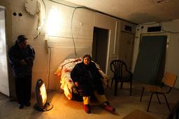 Israeli woman sits in bomb shelter in Beersheba