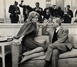 Film Director Jules Dassin Pictured With His Wife-to-be Actress Melina Mercouri Pictured In Claridges Hotel Surrounded By Press Photographers.
