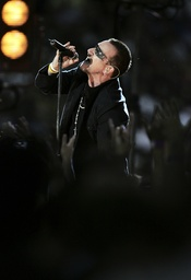 File photo of Bono of U2 performin before the game between the New Orleans Saints and Atlanta Falcons in New Orleans