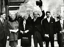 Stanley Matthews And Family Leaving The Cumberland Hotel For Buckingham Palace To Receive His Knighthood. For Full Caption See Version.