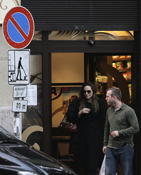 U.S. actress Jolie leaves a supermarket in downtown Budapest