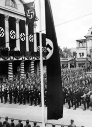 SA and SS formations before the National Theater in Weimar, 1936