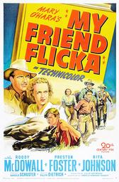 MY FRIEND FLICKA, US poster, from left: Preston Foster, Rita Johnson, Roddy McDowall, 1943, TM and C