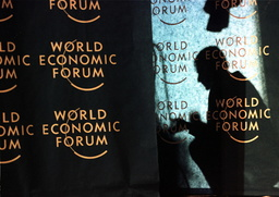 A TECHNICIAN WORKS AT THE WORLD ECONOMIC FORUM IN DAVOS