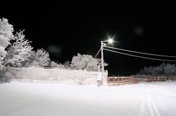 Snowy landscape at night