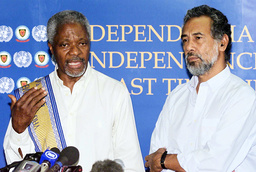 UNITED NATIONS KOFI ANNAN AND XANANA GUSMAO ATTEND NEWS CONFERENCE IN DILI