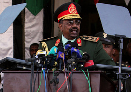 Sudan's President Omar Hassan al-Bashir addresses a military parade during Independence Day celebrations in Khartoum
