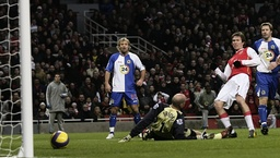 Arsenal's Hleb scores a goal during their English Premier League soccer match at The Emirates Stadium in London