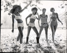 Triumph International Show Swimsuits. (l To R): Chris Rieker Germany In Aktuell Anette Buhrens Germany In Club Swimsuit Geka Sommer Germany In Montecarlo And Davina Adams Of Australia In Alassio In Hyde Park 1965.