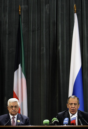 Russia's Foreign Minister Sergei Lavrov and Palestinian President Mahmoud Abbas speak at a news conference after their meeting in Moscow