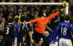 Chelsea's Cech stretches to make a save during their English Premier League soccer match against Everton in Liverpool