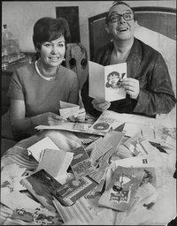 Eric Morecambe Comedian In Bed At Leeds General Infirmary With Wife Joan Morecambe And Get Well Cards From Fans Following His Heart Attack 1968.