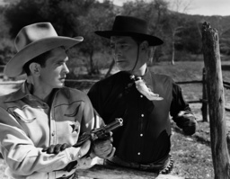 First from left Bob Steele in one of his numerous westerns, ca late 1930s