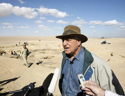 Egypt's antiquities chief Hawass speaks to the media about two recently discovered tombs in Saqqara