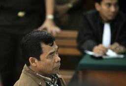Former BIN Deputy Chief Purwoprandjono attends trial in a south Jakarta court