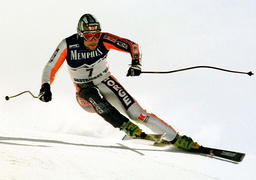 LASSE KJUS OF NORWAY ON HIS WAY TO THE SECOND PLAECE