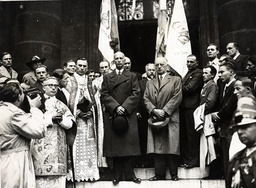 Wladyslaw Raczkiewicz New President Of The Polish Republic At A Religious Ceremony For Martyred Poland At The Polish Church In Paris. To His Right Is General Sikorski.