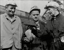 Sir Bernard Docker Chairman Of Bsa With Lady Docker (norah Collins) And A Miner At Coal Mine In Leeds 1954.