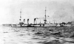 German cruiser 'Dresden' in port of Valparaiso, 1914
