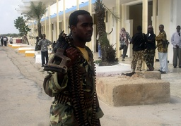 An Islamic courts fighter holds his weapon at Mogadishu's international airport