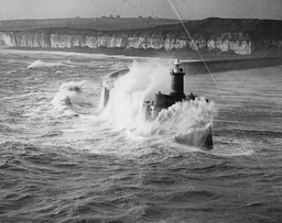Rough Seas Breaking Against The Lighthouse In Newhaven Harbour During Storms - 1936