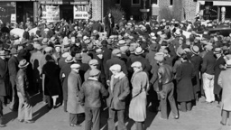 Protest against eviction during the Great Depression, 1932