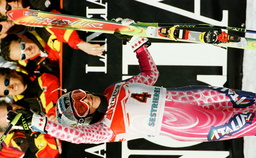 ITALY'S DEBORAH COMPAGNONI REACTS TO THE CROWD AFTER THE FIRST LEG OF THE WOMEN'S GIANT SLALOM RACE