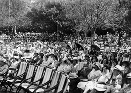 An Audience On Deck Chairs Are Seen In Alexandra Park In Hastings Sussex