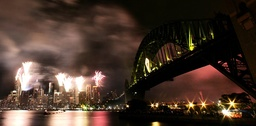 Fireworks explode over the Sydney skyline during New Year's celebrations