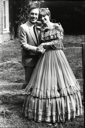 Christopher Timothy And His Bride Annie Wearing A Stunning Blue Off The Shoulder Gown After Their Marriage Today.