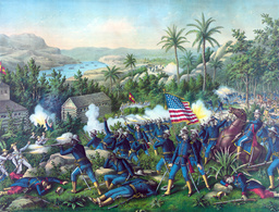 The Spanish American War. The Battle of Las Guasimas. The 9th and 10th colored cavalry in support of
