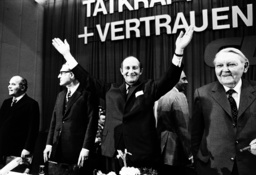 Barzel, Adorno, Filbinger and Erhard open the hot period of the Landtag election in Baden Wuerttemberg 1972