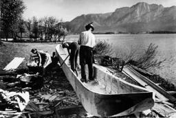Fishermen build a dugout, 1939