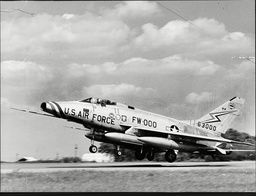 An American Air Force F-100 Super Sabre Aircraft At Wethersfield Essex.