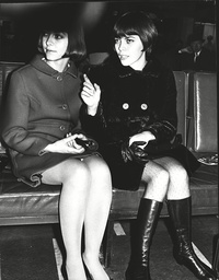 Mireille Mathieu French Singer And Her Sister Monique Leave London Airport For Germany. Box 0598 25062015 00401a.jpg.