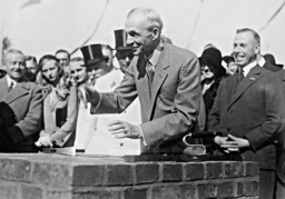 Henry Ford at the groundbreaking ceremony of the Ford plant in Cologne, 1930