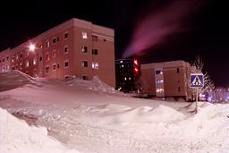 Piles of snow and towerblocks