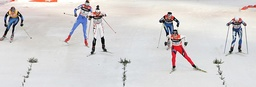 Finland's Kuitunen, Slovenia's Majdic, Canada's Crawford, Finland's Saarinen, Norway's Bjoergen and Italy's Follis (L-R) ski during the first of four 'Tour de Ski' Cross Country World Cup competitions in Munich'