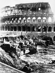 Street construction in front of the Coliseum in Rome, 1932